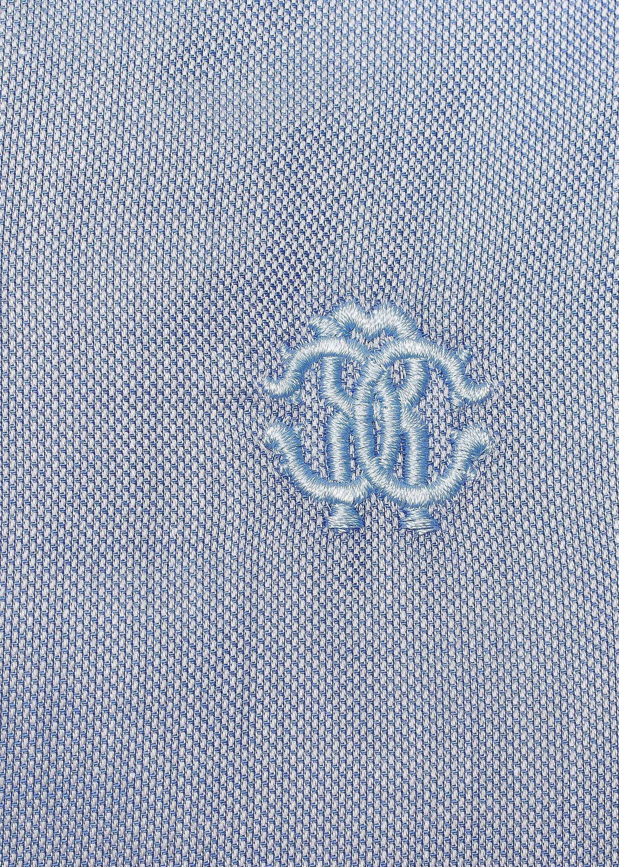 Roberto Cavalli Men's Spread Collar Checkered Cotton Dress Shirt Blue