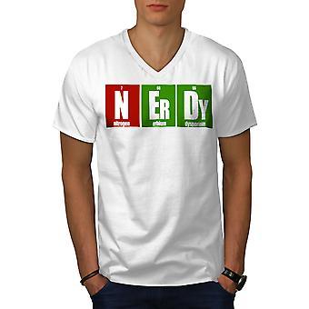 Geeky Funy Smart Geek Men WhiteV-Neck T-paita | Wellcoda, mitä sinä olet?