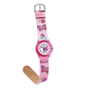 Niño Scout ver aprendizaje de cristal - rosa chicas reloj 280305013