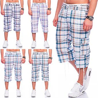 Mens Cargo Shorts Plaid shorts Bermudas Sport Karo summer stretch stretchy