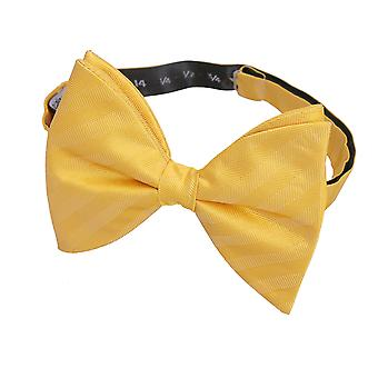 Primrose Yellow Herringbone Silk Butterfly Pre-Tied Bow Tie