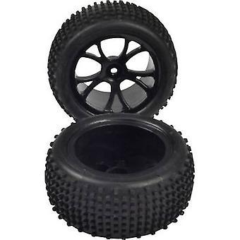 Reely 1:10 Buggy Complete wielen Lug 5-dubbel spaak Zwart 1 Paar