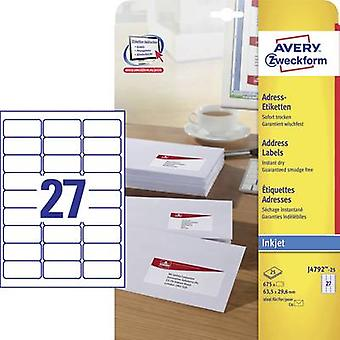 Avery-Zweckform J4792-25 Labels 63.5 x 29.6 mm Paper White 675 pc(s) Permanent Address labels, All-purpose labels Inkjet 25 Sheet A4