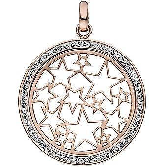 Pendant star star stainless steel rose gold color coated with crystals