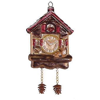 Cuckoo Clock with Pinecone Weights Christmas Holiday Ornament Glass