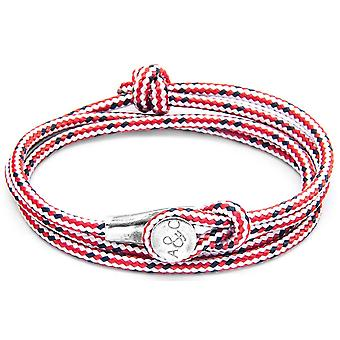 Anchor and Crew Dundee Silver and Rope Bracelet - Red Dash