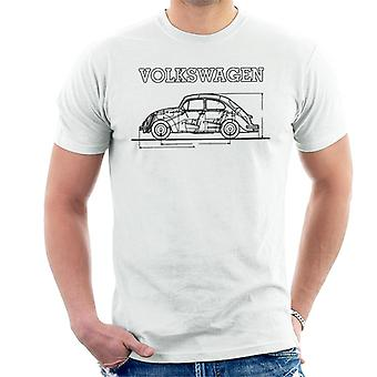 Official Volkswagen Beetle Black Technical Diagram Men's T-Shirt