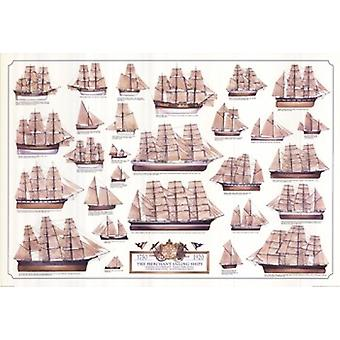Marchand de voile navires Poster Print (39 x 27)