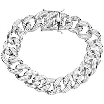 Premium Bling 925 sterling silverarmband - MIAMI CURB 16mm