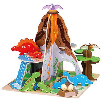 Bigjigs Toys Wooden Dinosaur Island - Complete Prehistoric Playset