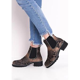 Snake afdrukken Faux Suede Chunky bezaaid Chelsea Ankle Boots Multi Brown