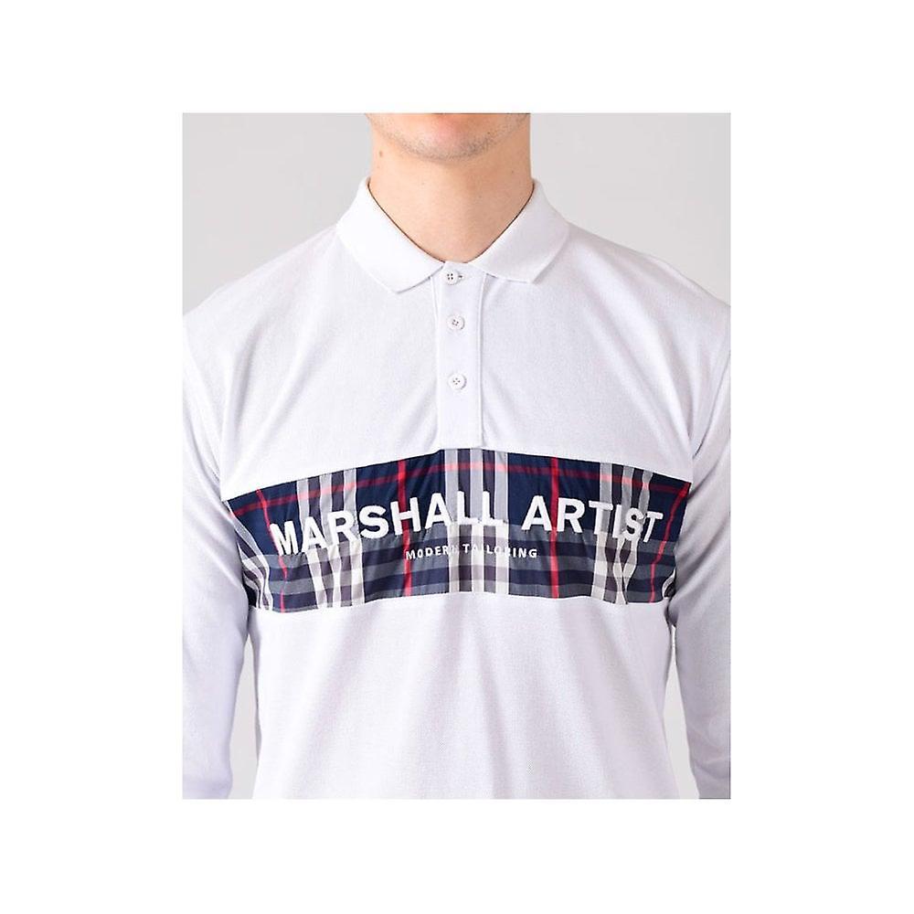 Marshall Artist White Casa Check Long Sleeve Polo Shirt