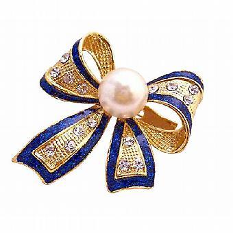 Blå glimmer Golden forgyldt sløjfe broche Pin i hvid perle & Rhinestones