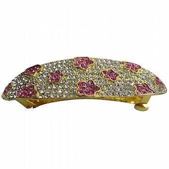 Klar, dass Kristalle rosa Blume Clip verkrustete Hochzeit Hair Barrette voll