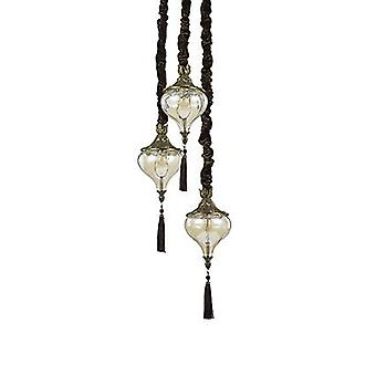 Ideal Lux - latón antiguo Harem y vidrio tres colgante con luz IDL115986