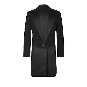 Dobell Herre sort aften kjole og hvidt Tailcoat jakke 100% uld