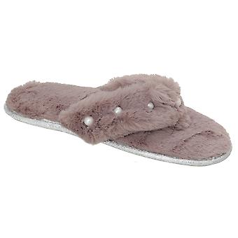 Slumberzzz Womens/Ladies Toe Post Slippers With Beading Detail