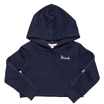 Infant Girls Bench Crop Hoody In Navy- Ribbed Cuffs With Thumb Holes- Cropped