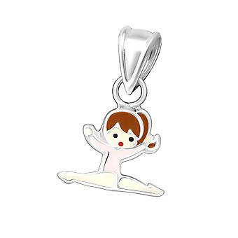Petite Sterling Silver gymnast pingente