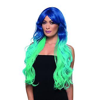 Μόδα γοργόνα περούκα πολύ μακριά Merrjungfrau περούκα μπλε απαλό μπλε τυρκουάζ καρναβάλι αξεσουάρ