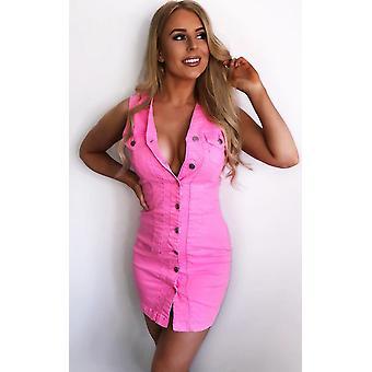 IKRUSH Womens Antonia Button Up Denim Dress