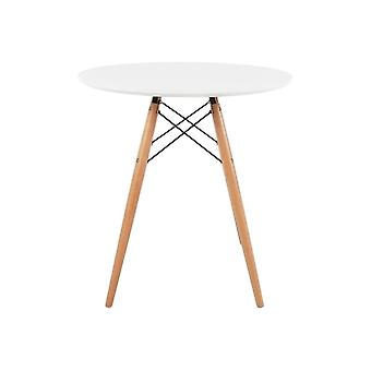 Fusion Living Eiffel Inspired Small White Circular Dining Table With Beech Wood Legs