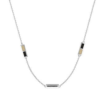 Purdue University Sterling Silver Engraved Triple Station Necklace In Tan & Black