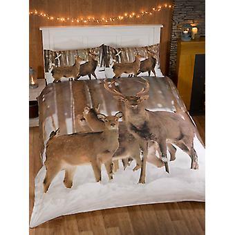 Winter Hirsch Bettbezug und Kissenbezug Set