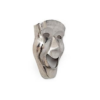 Large Silver Effect Metal Mask Happy Face Wall Plaque 46cm