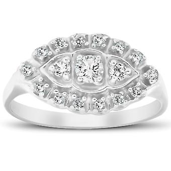 1/2ct Diamond 14K White Gold Antique Anniversary Right Hand Fashion Ring