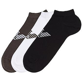 Emporio Armani 3 pack Big Eagle logo trainer sokken, zwart/wit/kakigroen, medium (UK 8-10)