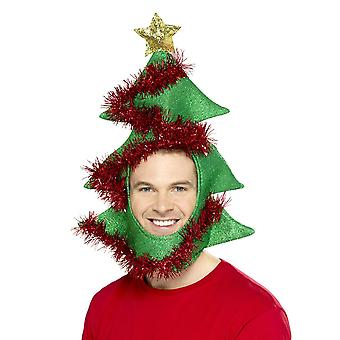 Novelty Christmas Tree Hat Green, Tinsel,Christmas Fancy Dress Accessories