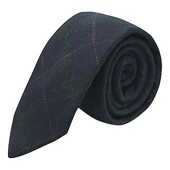 Marineblauwe & donker groene check tie, Tweed, tartan, Plaid