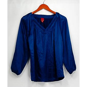 G.I.L.I. got it love it Top Sateen V-Neck Long Sleeve Pleated Blue A237625