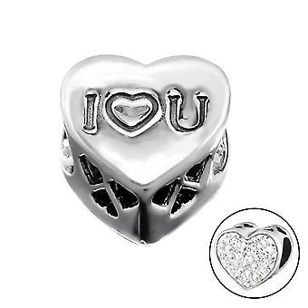 Ich liebe dich Herz - 925 Sterling Silber jeweled Perlen - W9930X