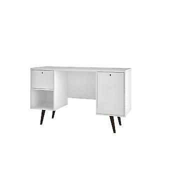 Manhattan comfort  edgar 1-drawer mid century office desk  in white