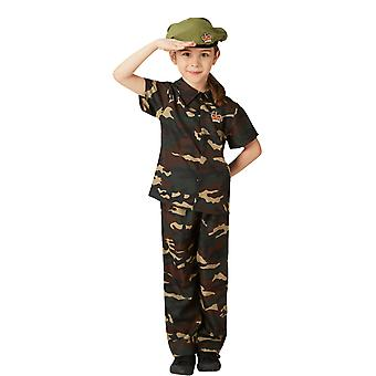 Boys Age 3 - 8 Years Army Costume Camo Soldier Uniform Fancy Dress