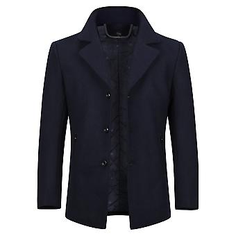 Allthemen Men's Solid Warm Simple Fashion Wool Blend Overcoat