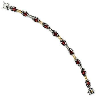 925 Sterling Silver finish Box Catch Closure With 14k 9.05Garnet 7.75inch Bracelet Jewelry Gifts for Women