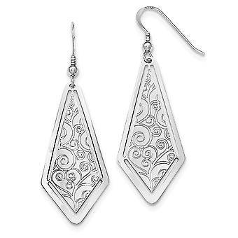 925 Sterling Silber poliert geätzt Schäferhaken Ohrringe Schmuck Geschenke für Frauen
