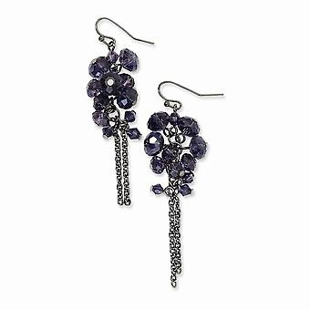 Gancho de pastor negro plating negro plateado púrpura cristal perla racimo larga gota colgante pendientes joyería regalos para las mujeres