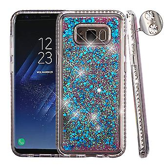 Diamante Frame (T-Clear)/Quicksand (Dark Blue Hearts) Glitter Hybrid Case pour Galaxy S8 Plus