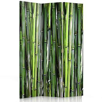 Raumteiler, 3 Paneele, Doppelseitig, Drehbar 360, Leinwand, Bambus