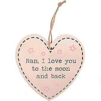 Något annat Nan jag älskar dig till månen och tillbaka hängande hjärta tecken