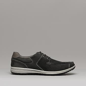 Hush Puppies runner Mocc Lace mens lederen casual schoenen zwart