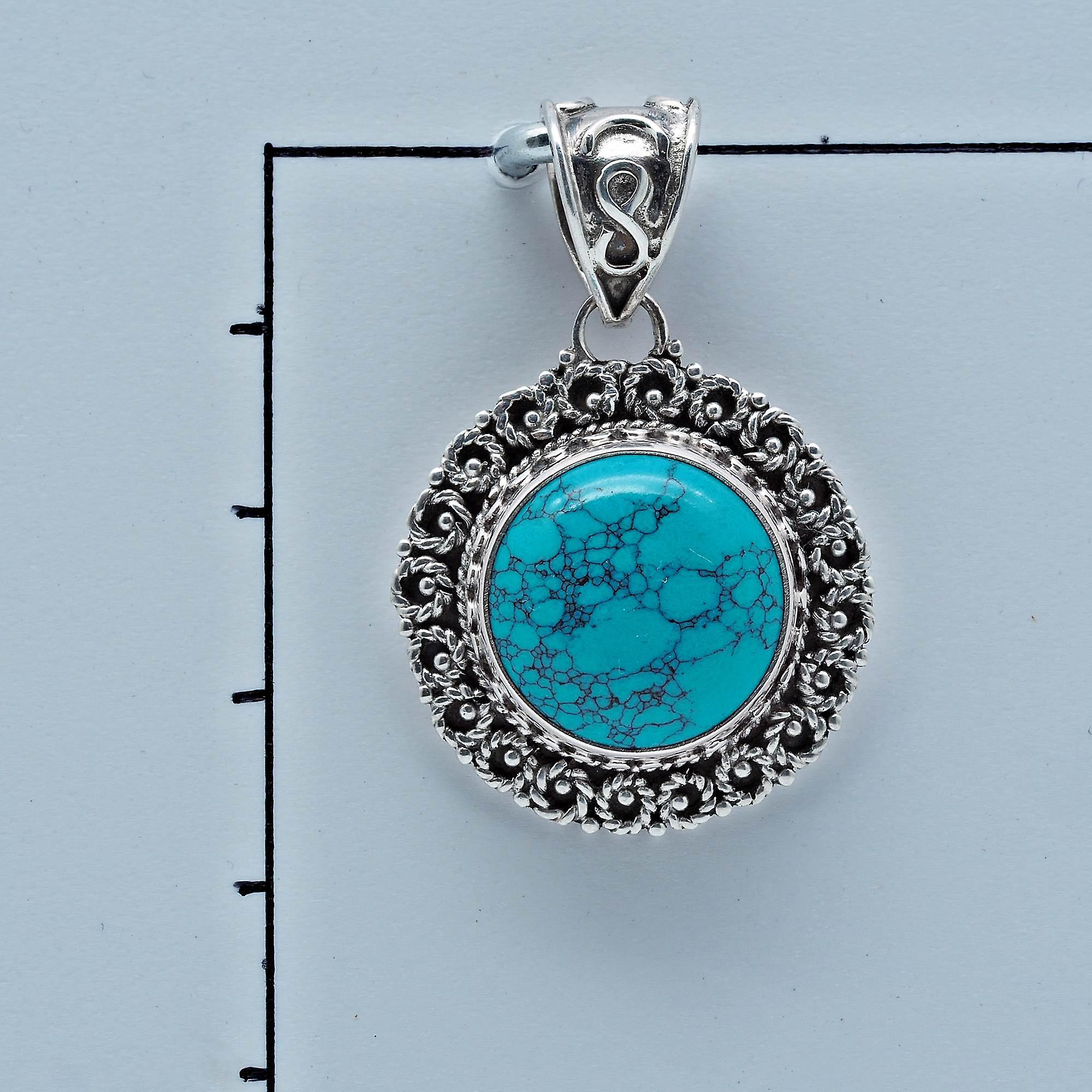Türkis Anhänger 925 Sterlingsilber Kettenanhänger Medaillon blau grün (098)