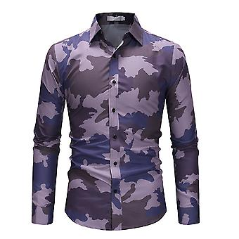 Allthemen Men's Camouflage Lapel Langarm Shirt