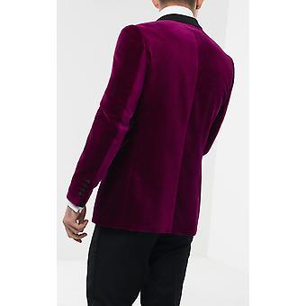 Holland & Sherry Mens Plum Velvet Tuxedo Jacket Regular Fit 100% Cotton