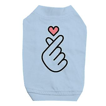 365 Printing Finger Heart Sky Blue Pet Shirt for Small Dogs Hilarious Quote Tee