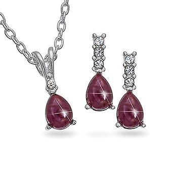 Set of 5 Genuine Ruby & Rhinestone Silvertone Pendant & Earrings - The Olivia Collection